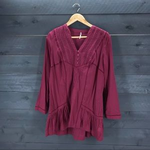 FREE PEOPLE Eyelet Button Front Tunic Top Size XS